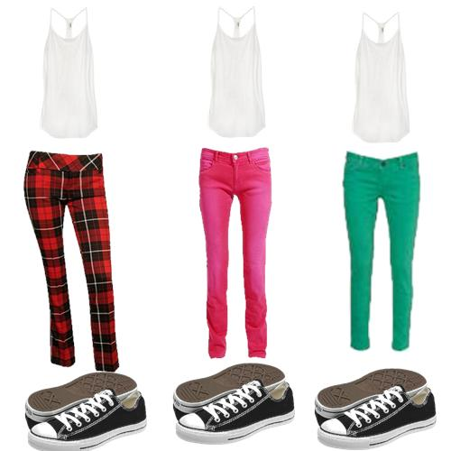 modelos de calças coloridas