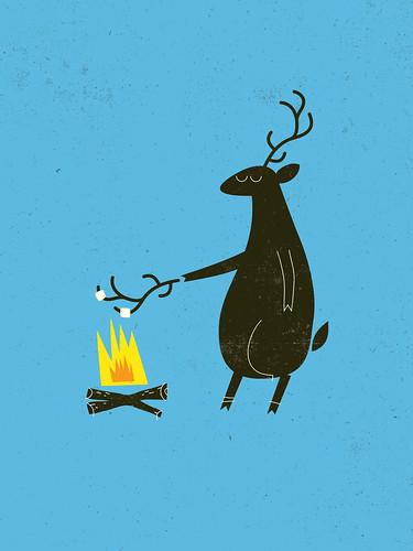 deer roasting marshmallows