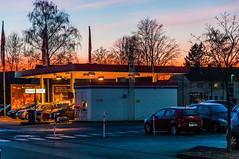 At the Night Station... (Siggi-Dee) Tags: nachttankstelle nightstation autos cars street´s strasen lkw available light low wolken clouds sun sonnenuntergang sundowner landschaft bäume tree´s strase street d7000 nikon 18270mm tamron tokina 1224mm hdr fuji x10 fujifilm xpro1 fujinon 18mmf2 27mmf28 windräder wind turbines siegda siggidee
