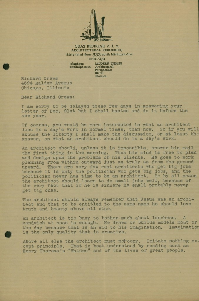 Letter from Chas Morgan, p.1.