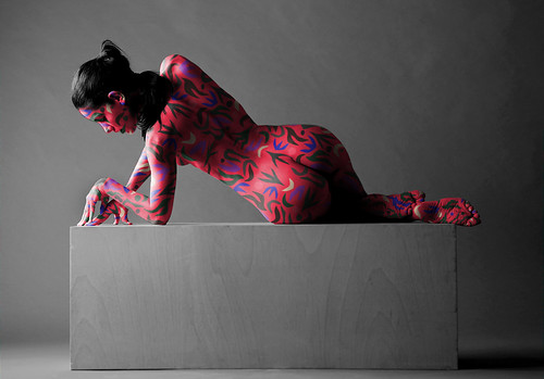 A model with body painting shows body art work