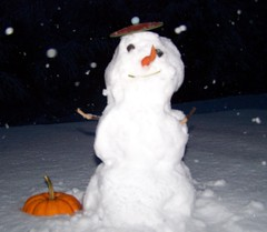 This is for ♥♥  Nicolas Valentin  ♥♥ (Lily C.) Tags: snow canada snowman newbrunswick pumkin bonhommedeneige flickrfriend lilyc nicolasvalentin 22ndoct2009