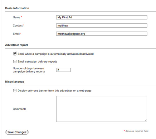 OpenX enter Ad Info 11