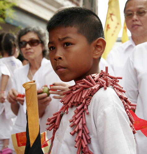 Boy with firecrackers