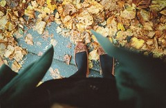 Autumn (Adele M. Reed) Tags: autumn leaves 35mm walking kodak coat tights newshoes fallen 200 moccasins nikonl35