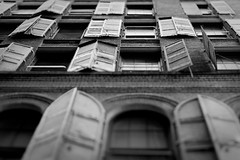 Puck Building Shutters, NYC (orangeblob) Tags: nyc newyork brick window canon miniature manhattan arches 1d shutters shutter nyu puck 45mm tiltshift puckbuilding tse45mm canon1dmkiii canon1dmarkiii orangeblobphotography