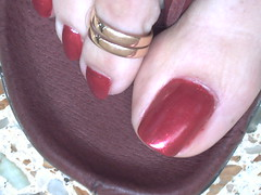 mi camara octubre 067 (sandalman444) Tags: red men hand sandals nail polish made pedicure custom toenails longtoenails toerrings