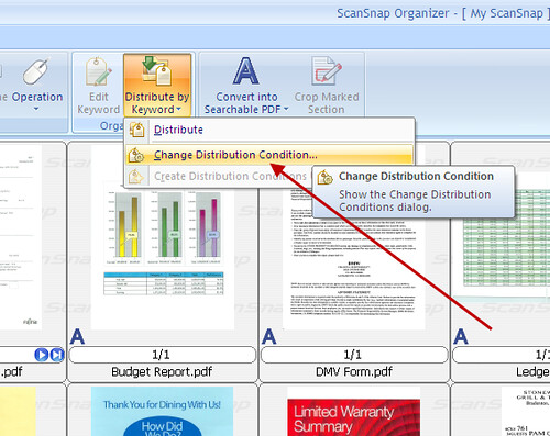How Can I Use the Distribute by Keyword Feature in the ScanSnap Organizer Software Available with the S1500?_5