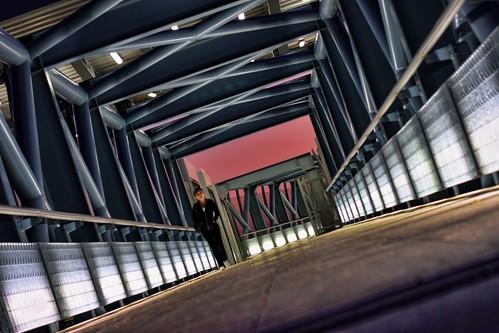 footbridge at neratziotissa station over attiki road