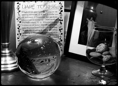 """BW-The """"Dare to Risk"""" Pill (Archer Art~SJ Arredondo) Tags: white black art glass lamp strange canon ball table photography still rocks poetry crystal top steel album scene anderson cover angels subject conceptual base pill stainless symbolism snifter unkown auther luarie decerative"""