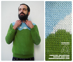 New sweater by Sirena con Jersey (Alcia) Tags: sky cloud mountain green sweater knitting knit jacquard sirenaconjersey