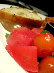 First course sampler: golden and chiogga beets, grilled Italian bread