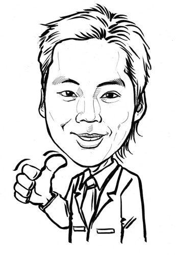Caricature of Ronel Foo in ink