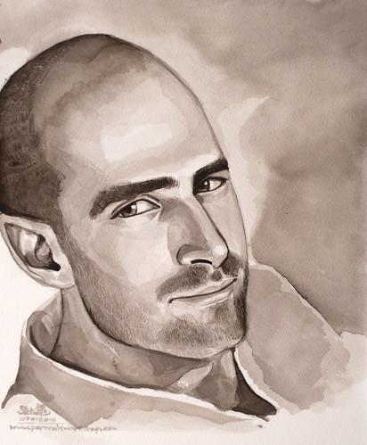 Guy portrait in watercolour 070110