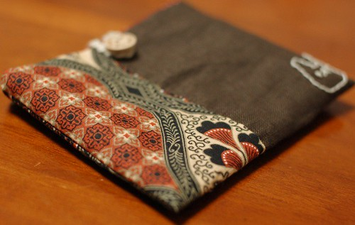 A button pouch with two pockets