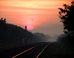 Red Signal!!! [Explored] (D a r s h i) Tags: red sun sunrise track railway olympus redlight signal pune darshi kavdi darshita sp565uz