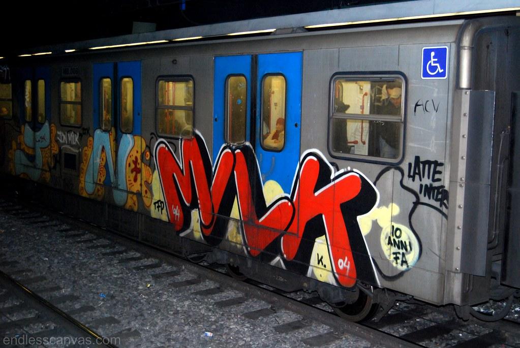 Milk Subway Graffiti Rome Italy.