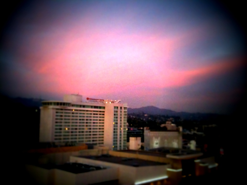 Sunset over Hollywood Blvd.