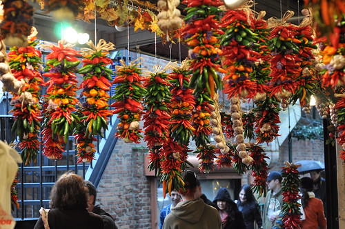 dried peppers hanging from string at Pike Place Market in Seattle