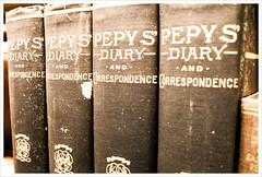 photo of a collection of Pepy's Diaries, primary source