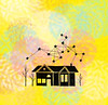 Dreaming (Claire Mojher) Tags: house tree art home silhouette illustration painting star colorful drawing constellation