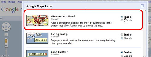 Enabling What's Around Here in Google Maps Labs