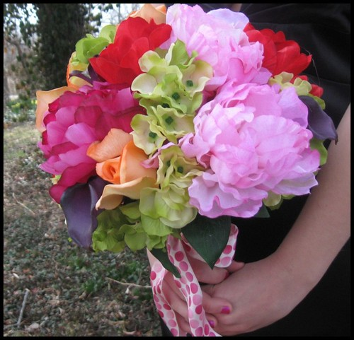 Scented Peony Rose Tulip Silk Bridal Bouquet