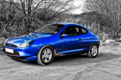 Ford Puma (Frank Schmidt) Tags: auto blue bw white black color cars ford colors car canon denmark photography photo spring mixed mix automobile colorful bil vehicle 17 puma 1740mm schwarz coup forr weis dennmark vct d450