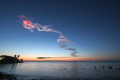 The Shuttle Exhaust Plume at Dawn (stormdog42) Tags: water clouds landscape dawn florida launch titusville spaceshuttle sts131