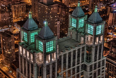 900 North Michigan Avenue from the Sky at Night - Chicago (Mister Joe) Tags: above city roof chicago skyscraper lights flying nikon aerialview joe aerial michiganavenue hancock hdr 900north buildingtop