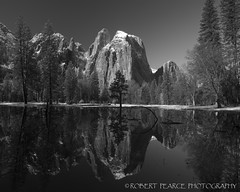 Sentinel Rock Reflections, Yosemite.  April 13, 2010 (Robert Pearce Photography) Tags: california trees winter blackandwhite bw snow reflection water reflections landscape spring meadow sierra yosemite granite april yosemitevalley 2010 yosemiteblog sentinelrock nikond200 robertpearce floodedmeadow sierrasolstice robertpearce