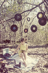 daydream believer (enjoythelittlethings) Tags: park trees records girl yellow forest self canon vintage spring woods montana awesome rad pearls collection faded albums recordplayer blanket barefoot heels hanging 365 45s billingsmt totw