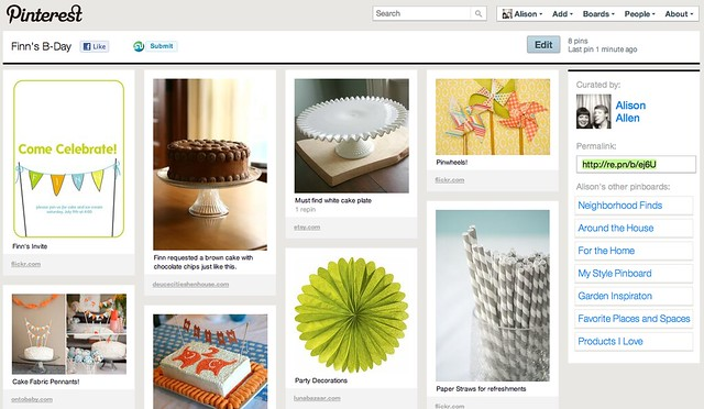 Finn's Birthday Pinterest Page