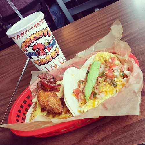 How does one celebrate a success #sxsw? A good shower and #roscoe & #migas #tacos from @torchytaco!