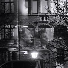 Ce soir à la télé (_ Adèle _) Tags: chezmoi fenêtre rue vitres reflets écran télévision réverbère maisons façades arbre portes entrées étages empilement lampes lumière nb noiretblanc bw blackandwhite monochrome visages surimpression
