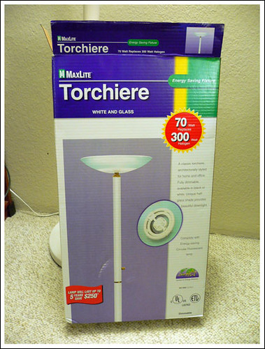 2 White MaxLite Torchiere energy saving lamp  US$ 15 for each   ***SOLD***
