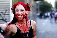 Laugh out loud (flavita.valsani) Tags: red portrait woman black girl smile tattoo downtown zombie sopaulo joy gray happiness redhead sampa fakeblood viadutodoch praadopatriarca zombiewalk valsani