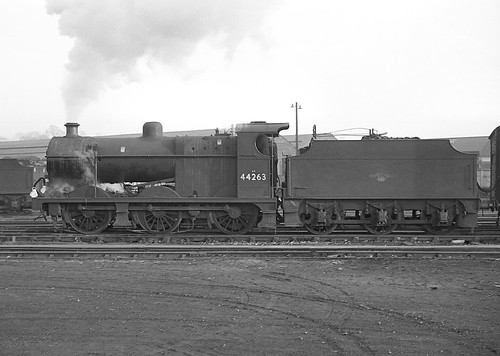Class 4F no.44263 leaving Bromsgrove yard. 2 March 1963