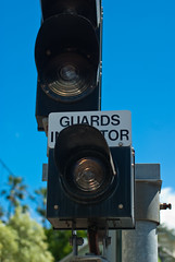Railway Guard's Indicator Light (Craig Jewell Photography) Tags: blue light sky green station danger warning 50mm iso100 day guard sydney platform railway australia noflash safety nsw daytime safe cityrail indicator f35 waverton 1500sec smcpentaxfa50mmf14 20091014102129igp1774 craigjewellphotography