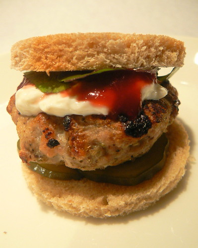 "Turkey Burger ""Slider"" with cranberry sauce and goat cheese"