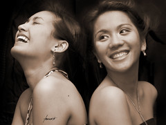 When Mary Met Audrey (Tomasito.!) Tags: girls portrait people beautiful smile fashion sepia mouth hair asian nose happy necklace eyes nikon women asia dress mary philippines young smiles makeup ears jewelry lips audrey shoulders filipina jt noriega tomasito strobist nikond90