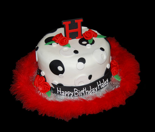 red black and white sassy circles birthday cake