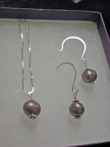 Purple Pearl Silver Necklace and Earrings