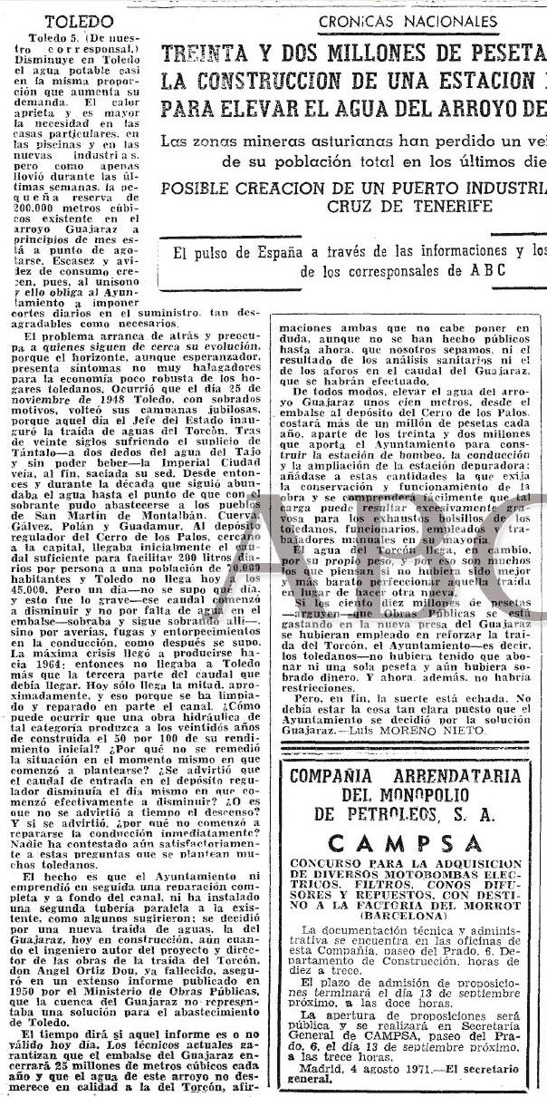 Luis Moreno Nieto duda de la idoneidad del bombeo del Guajaraz. 1971, diario ABC