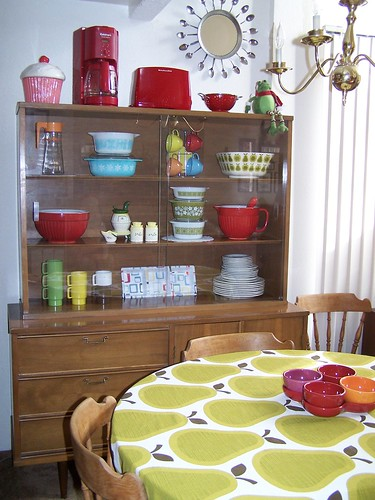 Retro china in retro cabinet, via Flickr: Amy Cluck of Peptogirl Industries