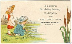1880s Artist Kate Greenaway Goffes Circulating Library Stationery Dry Goods Store Albany New York (oldsailro) Tags: park new york old boy sea summer people sun lake playing beach water pool girl sunshine youth sailboat race vintage children fun toy boat miniature wooden pond model waves sailing ship child time yacht kate antique library group boom mat card albany regatta hull spectators trade watercraft greenway adolescence keel fashioned circulating goffes