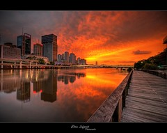 Fire in the Sky (Christolakis) Tags: reflection sunrise river fire australia brisbane southbank hdr sigma1020 flickrsbest canon400d anawesomeshot oneofmypics