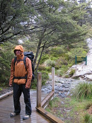 Good chance to try out my rain gear (Dennisworld) Tags: newzealand me rain hike southisland southland fiordland routeburntrack routeburnfallshut