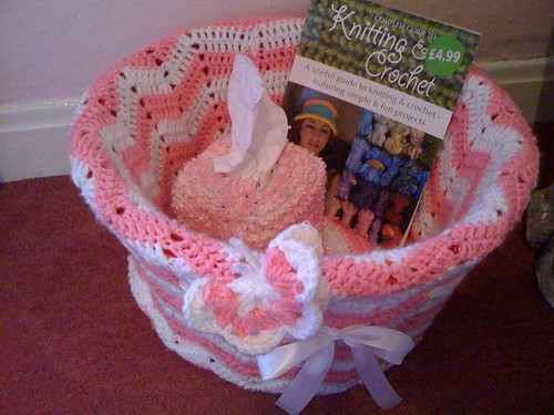 Crocheting for our Bedroom. 'My Boudoir Basket!'.  So handy to throw those Bedroom essentials in!