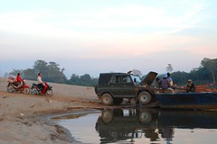 stuck in the middle (aquanica) Tags: car ferry laos motobike attapeu bolaven sekongriver